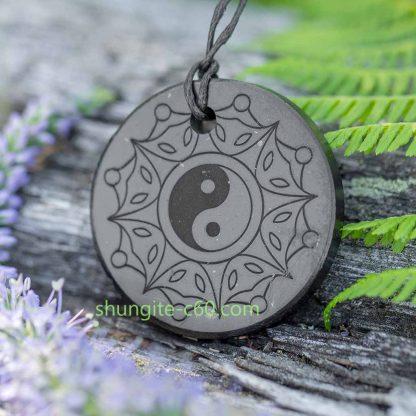 Yin and Yang pendant of natural stone shungite