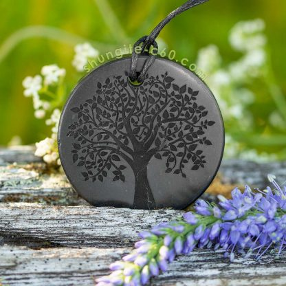 authentic shungite pendant tree of life engraved
