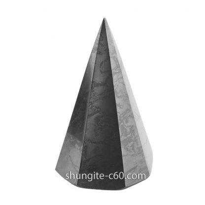 black shungite pyramid and quartz
