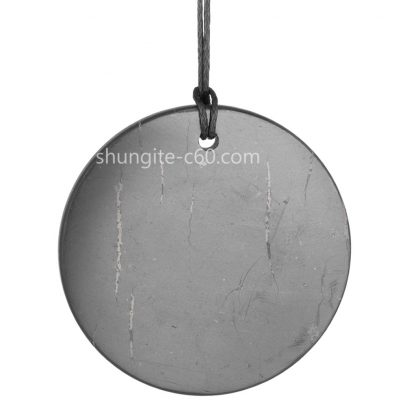 shungite circular pendant emf protection large circle