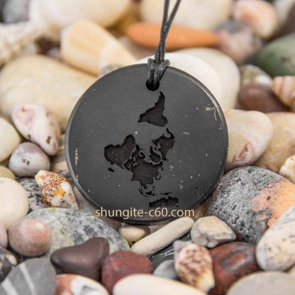 engraved necklace of shungite mineral