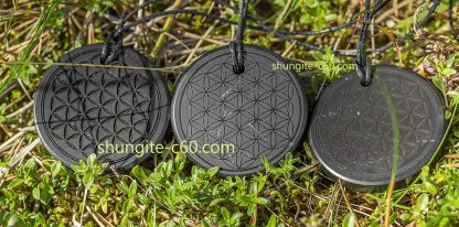 geometry jewelry flower of shungite stone from russia
