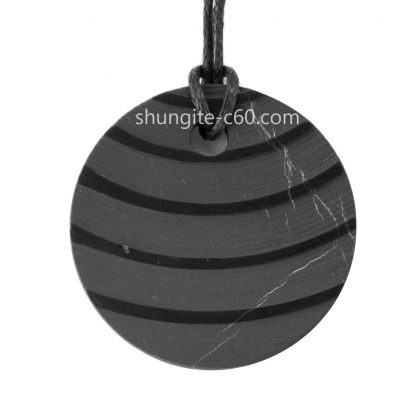crystal shungite for emf protection pendant necklace circle carved