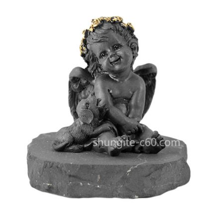 figurine of shungite angel and dog