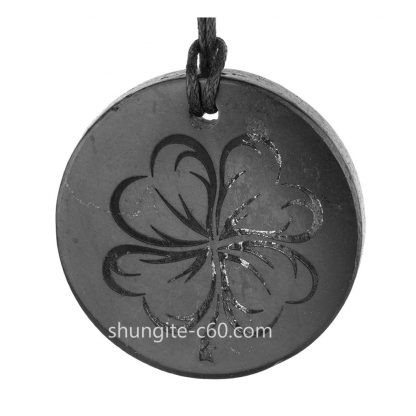 four leaf clover necklace engraved on raw shungite stone