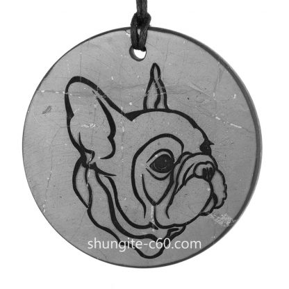 french bulldog shungite necklace of natural stone