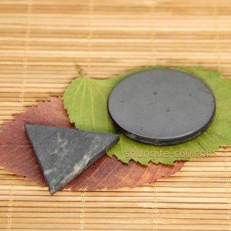 shungite circle and soapstone triangle