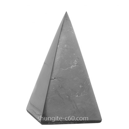 shungite stone pyramid polished surface