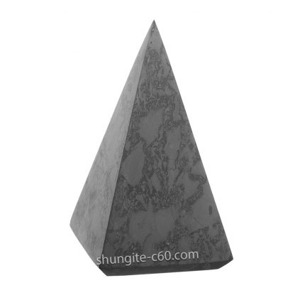 real shungite stone pyramid polished surface with quartz