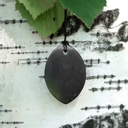 shungite leaf pendant
