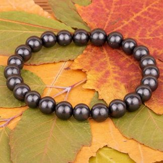 shungite bracelet stretcable round beads