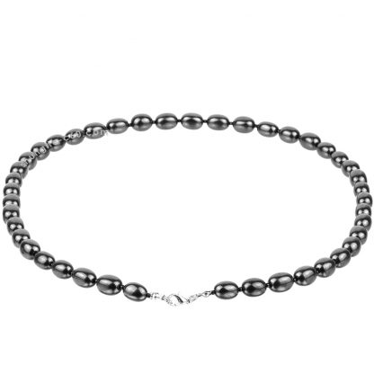 shungite bead necklace made of natural black stone