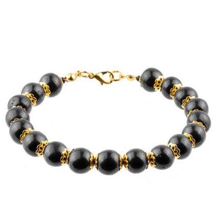 shungite bracelet not stretcable round beads