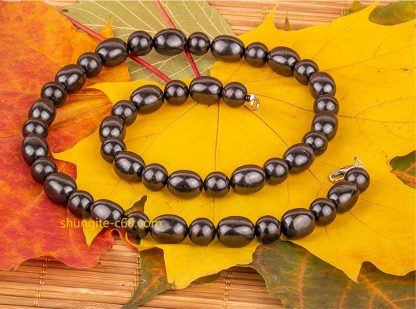 shungite statement necklace with natural stones