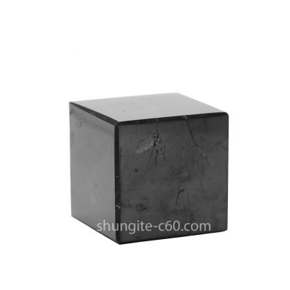 shungite polished cube of natural stone from Karelia