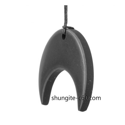 pendant of black stone inverted crescent moon