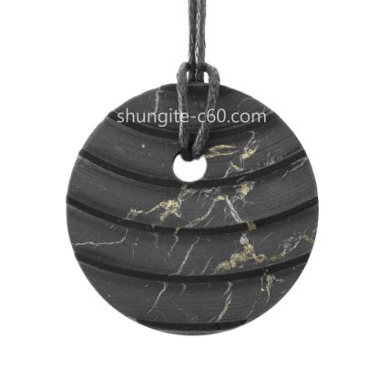 gemstone shungite emf protection pendant necklace circle carved