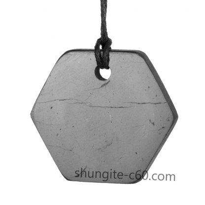 shungite pendant necklace emf protection pendant necklace made of natural stone shungite form hexagon