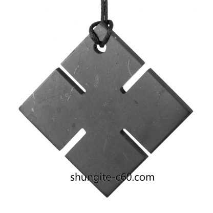 shungite pendant four cardinal directions black stone cross