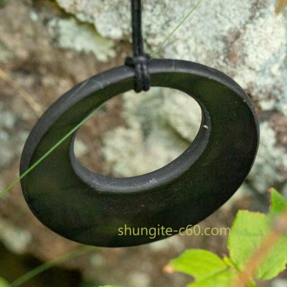 Shungite emf protection necklace circle of real stone