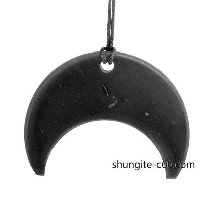 shungite necklace Moonwoman from black gemstone