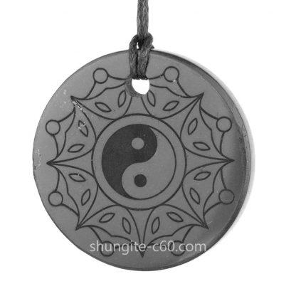 Yin Yang shungite pendant raw black stone
