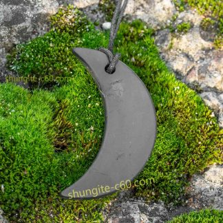 moon crescent pendant of stone shungite