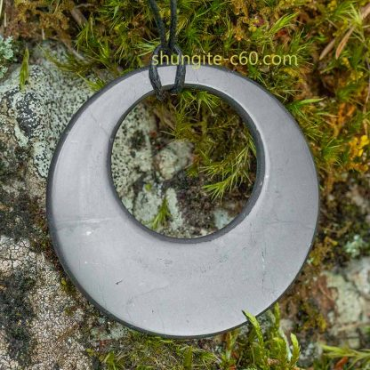 shungite stone donut pendant necklace