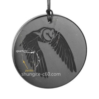 shungite necklace night owl with quartz and pyrite inclusions