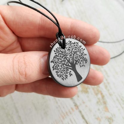 shungite pendant tree of life 3,5 cm side view