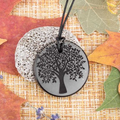 shungite rock necklace engraved tree of life