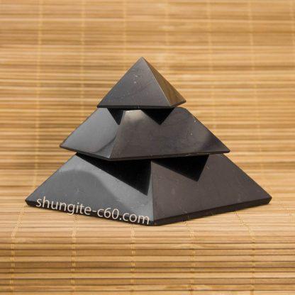 Segmented shungite pyramid