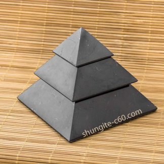 shungite pyramid 10cm segmented three world