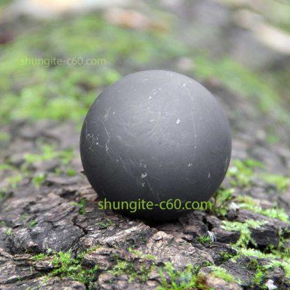 Shungite sphere of natural rock