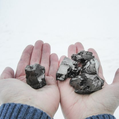 shungite nuggets approximate size on hand