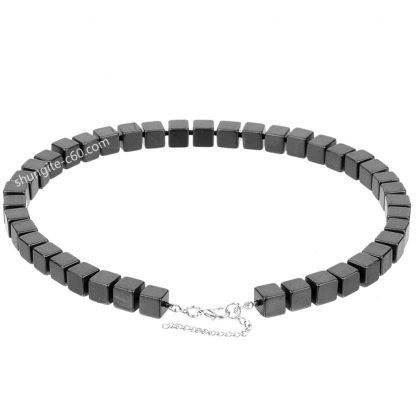 men's black necklace beads of shungite