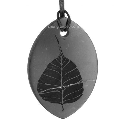 shungite pendant with engraving Pipal tree