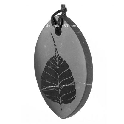 shungite pendant with engraving Bodhi tree