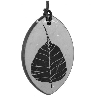 shungite pendant Bodhi Tree Leaf