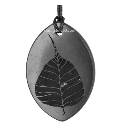 shungite pendant with engraving Pipal ficus