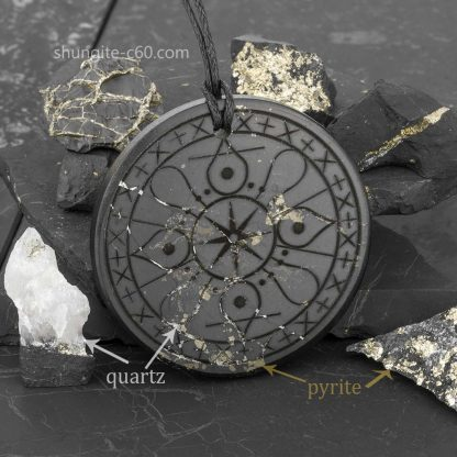 natural satellites of shungite quartz and pyrite