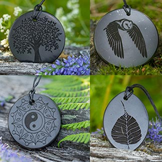 Shungite Engraved Amulets and Pendants