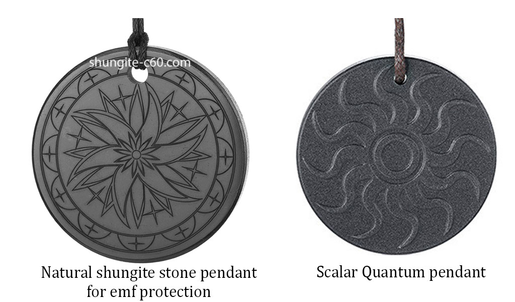 shungite pendant vs Scalar Energy Pendant