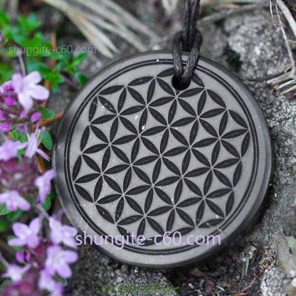 shungite pendant flower of life