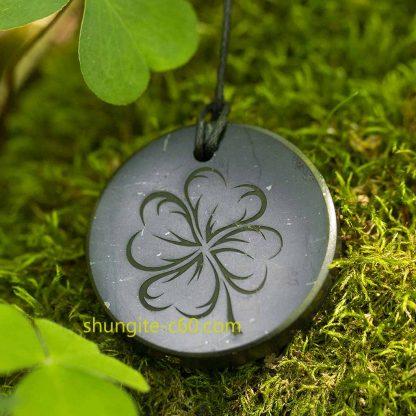 shungite pendant lucky clover
