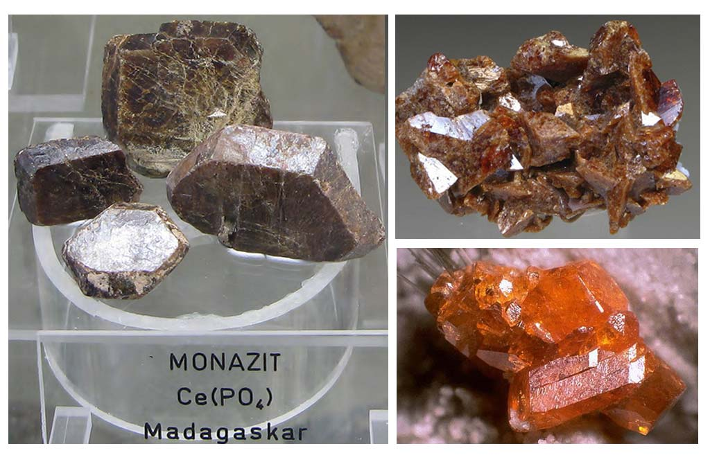 Samples of the mineral Monazite