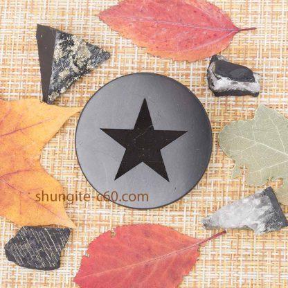 shungite round plate pentagram