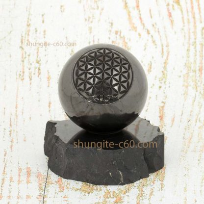 black sphere shungite engraved