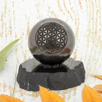 shungite sphere engraved