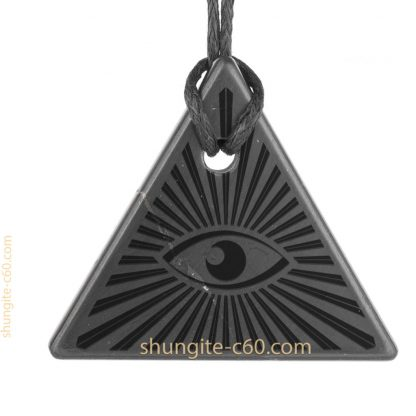 All Seeing Eye necklace of shungite raw stone